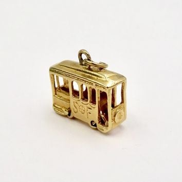 Vintage 14k GOLD CABLE CAR Charm Pendant 14k Yellow Gold Figural Movable San Francisco Cable Car Pendant Charm