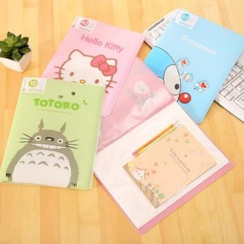 Cute 10 Pockets Totoro Hello Kitty A4 Clear Page Document File Bag Book Paper Storage Holder School Office Supply Stationery