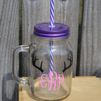 Glass Mason Jar with Monogram ~ Custom Design~