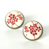 Red Cherry Blossom Earring Studs - Stud Earrings - Japanese Flowers Jewelry - Burgundy and Beige Earring Posts