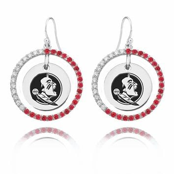 Buy Florida State Seminoles Sterling Silver and Color CZ Circle Style Earrings. Free Shipping