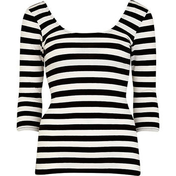 River Island Womens Black and white striped ballerina top