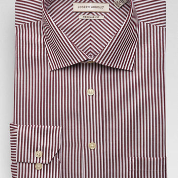 Joseph Abboud Burgundy Stripe Classic Fit Non-Iron Dress Shirt - Active Jeans | Men's Wearhouse