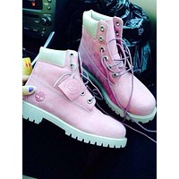 Timberland Rhubarb boots for men and women shoes waterproof Martin boots lovers Pink-white pink soles
