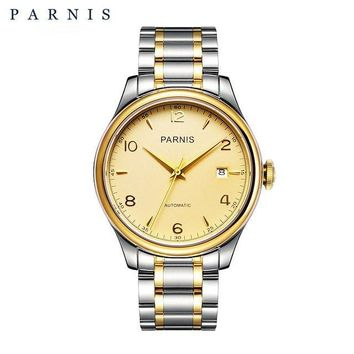 Men's Parnis 18k Gold Plated Watch - 38mm