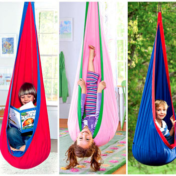 Indoor Outdoor Canvas Hanging Hammock Chair Swing For Kids