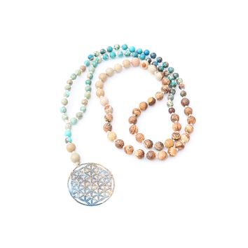 African Turquoise Mala - Patina Flower of Life Pendant