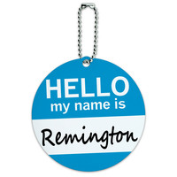 Remington Hello My Name Is Round ID Card Luggage Tag