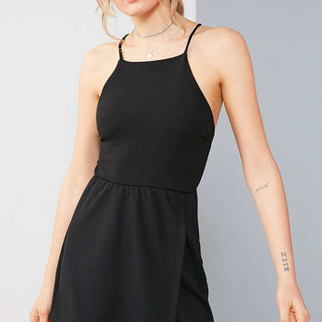 Silence + Noise Knit Crepe Tie-Back Skort Romper - Urban Outfitters
