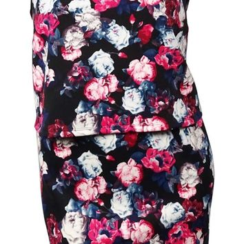 NY Collection Women's Popover Floral Scuba-Knit Dress