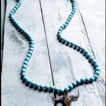 48 Inch Turquoise Necklace with Copper Longhorn 112i