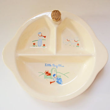 Porcelain Baby Dish, 1947 Vintage Baby Feeding Dish, Little Boy Blue, Excello Baby Bowl, Child's Nursery Decor