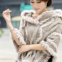Rabbit Fur Hooded Knitted Cloak Coat
