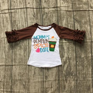 Halloween baby girls boutique top t-shirt clothes mommy's pumpkin spice coffee date icing sleeve cotton children raglans ruffles