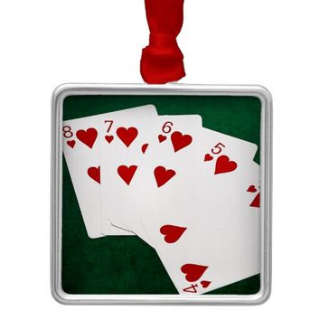 Poker Hands - Straight Flush - Hearts Suit Metal Ornament