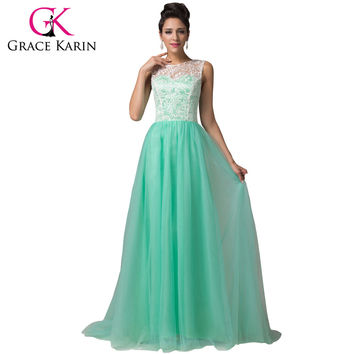 Lace Elegant Long Prom Dresses Grace Karin White Black Mint Green Prom Dress 2016 Sleeveless Floor Length Formal Dress 6108