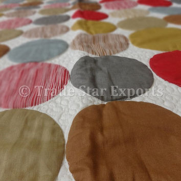 """Polka Dot Printed Baby Quilt, Glazed Cotton Fabric, Size 110"""" x 140"""" Cms., Reversible Kids Comforter, Printed AC Quilt"""