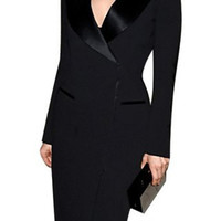 Turn-Down Collar Long Sleeve Slit Bodycon Dress