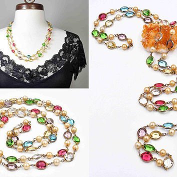 "Vintage Art Deco Oval Crystal Bezel Necklace, Multi Color, Faux Pearl, Pointed Back, 12mm Crystals, Flapper, 48"" Long, Nice! #c257"