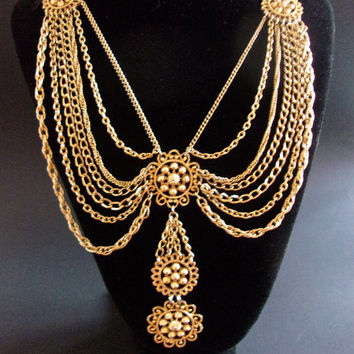 Swag Victorian Revival Multi Strand Necklace, Estate Gold Tone, Dramatic Vintage