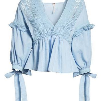 FREE PEOPLE Drive You Mad Blouse Blue $110