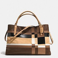 THE LARGE SOFT BOROUGH BAG IN PATCHWORK HAIRCALF