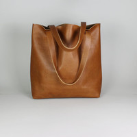 Large distressed leather shopper, camel leather tote bag, everyday bag, market bag, leather shoulder bag, leather tote