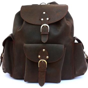 Leather Backpack Book Bag - Rich Chocolate Brown, Distressed, Rugged
