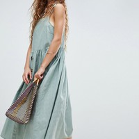 ASOS Button Through Casual Cami Midi Smock Sundress at asos.com