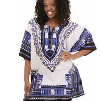 Women Men Summer Short Sleeved blue and white porcelain Printed Loose Blouse National Wind  Tops Dashiki One Size (Size: One Size, Color: Floral print) = 5618516609