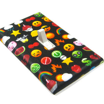 Emoticons Light Switch Cover Emote Home Office Decor Geek Geekery Decorative Switch Plate Cover 1394