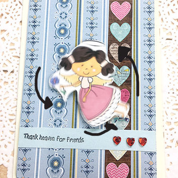 "Thank Heaven For Friends Greeting Card, Angel, Hearts, Hand Colored, Gratitude, Friendship, Thank You, Light Blue, Mauve, Love - 4"" x 5.5"""