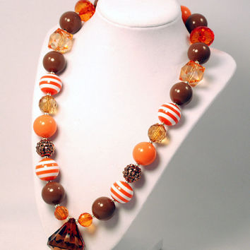 Fall Thanksgiving Girls Boutique necklace Chunky Beaded Necklace Infant and Baby necklace Orange and Yellow