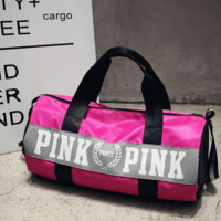 """Pink"" Sports and fitness yoga with short travel bag"