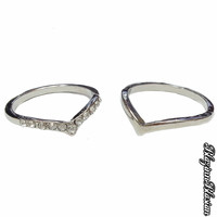 Silver Chevron Mid Ring