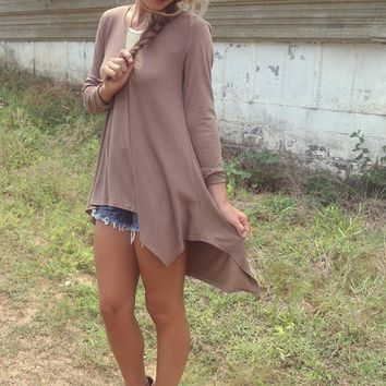 Brown Long-Sleeve Asymmetrical Loose Shirt