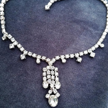 Vintage bridal rhinestone bib necklace