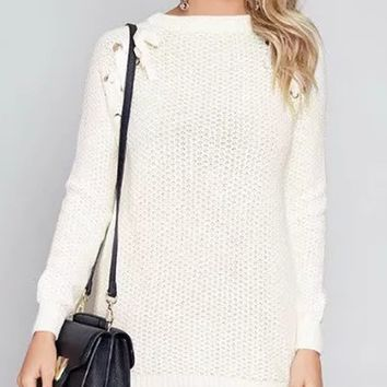 White Lace Up Side Long Sleeve Longline Sweater