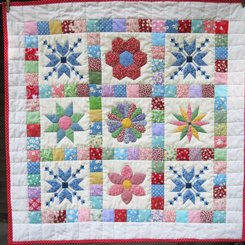 Baby Patchwork Quilt Retro  baby quilt Quilted Wall Hanging stroller blanket Crib Thirties Quiltsy handmade