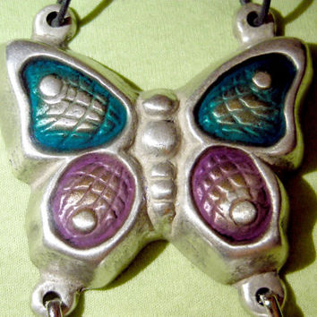 silver plated butterfly,vintage,handmade antique 70s,enamel copper wall hanging