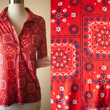 Vintage 70s Bandana Print Blouse | Festival Top | Retro Hippie Boho Slouchy Top 80s Top 80s Blouse Button Down Shirt Country Western Shirt