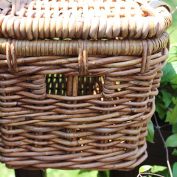 vintage grapevine chest basket great for home decor or storage, wedding card basket, storage basket, retro wicker reed picnic basket, home