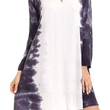 Angel Cola Womens Tie Dye Roll up Long Sleeve Pocket Shift Dress