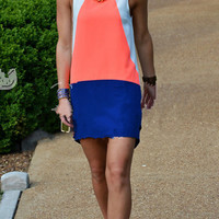 Causal Color Block Tank Dress B005692