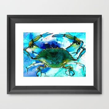Blue Crab - Abstract Seafood Painting Framed Art Print by Sharon Cummings | Society6