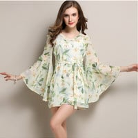 White Floral Print Trumpet Sleeve Chiffon Dress
