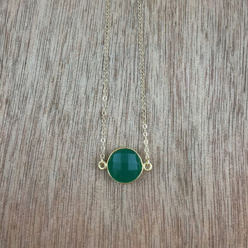 14k gold filled necklace with a 24k gold vermeil green onyx bezel connector / bridesmaid / dainty / minimalist / May birthstone