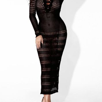Black Cut Out Lace-up Bodycon Long Sleeve Homecoming Party Maxi Dress