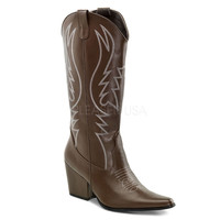 Brown Faux Leather Stitched Cowboy Boots