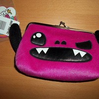 So So HAPPY Taco PLUSH Pink Monster BIG COIN PURSE Cosmetic Case Bag Purse NWT